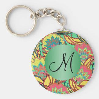 Caribbean Colors Boho Floral Monogrammed Key Ring