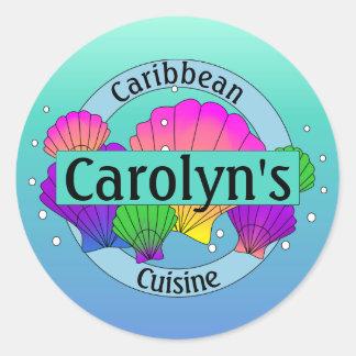 Caribbean Cuisine Sea Shells and Bubbles Round Sticker