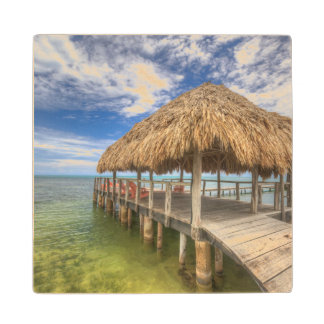 Caribbean Dock Wood Coaster