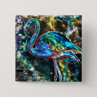 Caribbean Flamingo Digital Art 15 Cm Square Badge