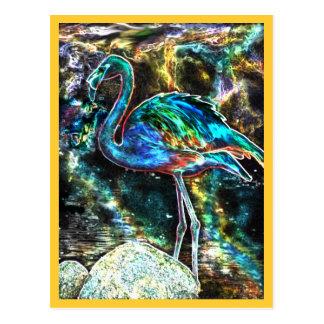 Caribbean Flamingo Digital Art Postcards