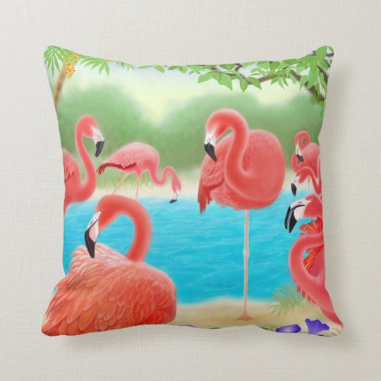 Caribbean Flamingo Lagoon Pillow