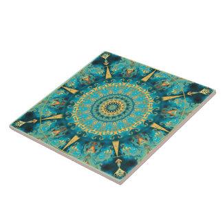 Caribbean Gold Mandala Ceramic Tile