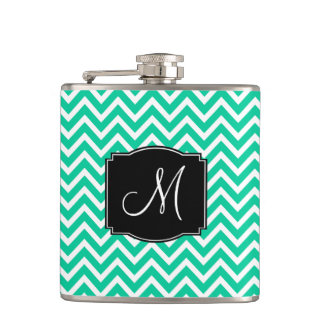 Caribbean Green Chevron Pattern with Monogram Flasks