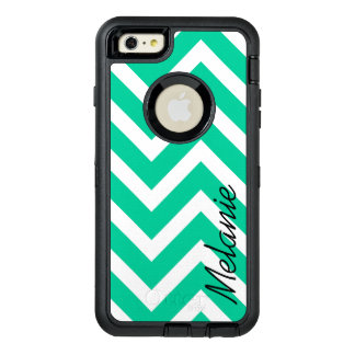 Caribbean Green Chevron Pattern with Monogram OtterBox iPhone 6/6s Plus Case