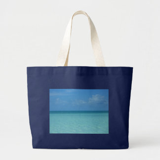 Caribbean Horizon Tropical Turquoise Blue Large Tote Bag