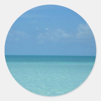 Caribbean Horizon Tropical Turquoise Blue Round Sticker