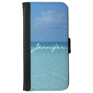 Caribbean Horizon Turquoise Blue Personalized iPhone 6 Wallet Case
