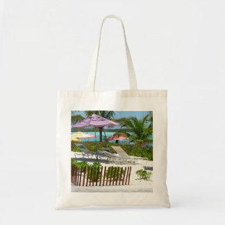 Caribbean Island Beach Scene Budget Tote Bag