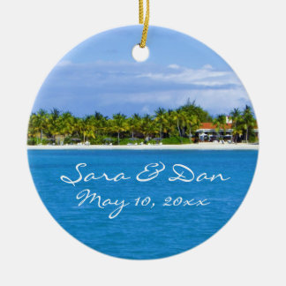 Caribbean Island Customizable Wedding Ornament