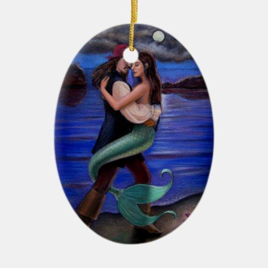 Caribbean Mermaid & Pirate Oval Christmas Ornament