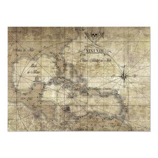 Caribbean - old map 14 cm x 19 cm invitation card