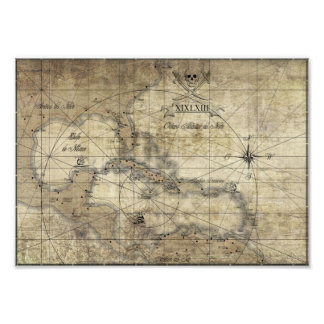 Caribbean - old map photo