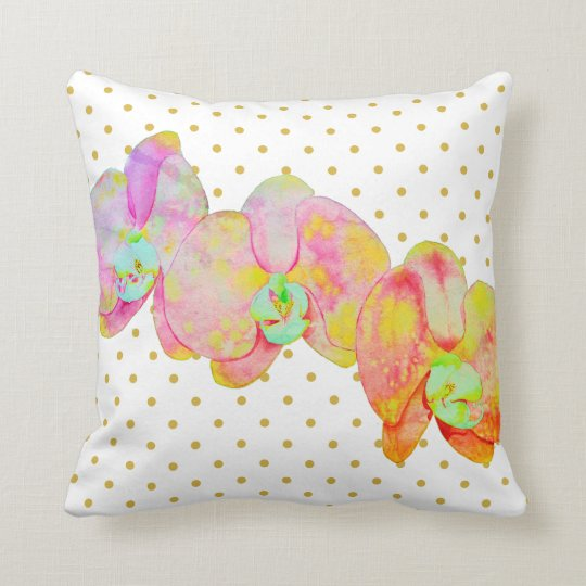 Caribbean Orchids - gold polka dots Cushion