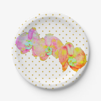 Caribbean Orchids with gold polka-dots Paper Plate