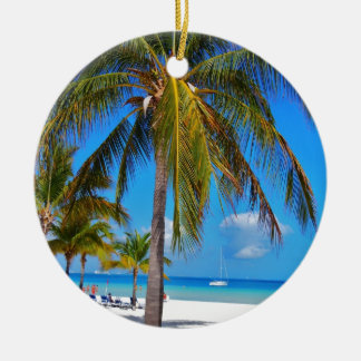 Caribbean palm tree round ceramic decoration