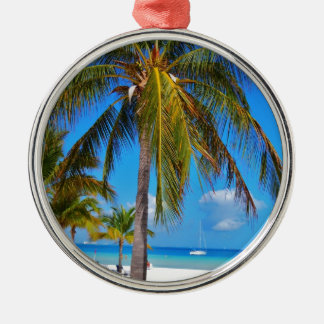 Caribbean palm tree Silver-Colored round decoration