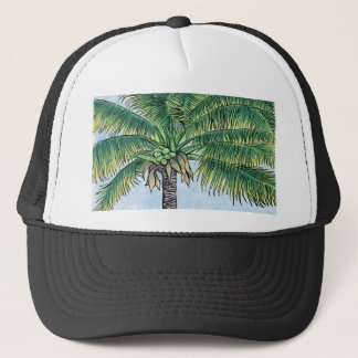 Caribbean palm tree trucker hat