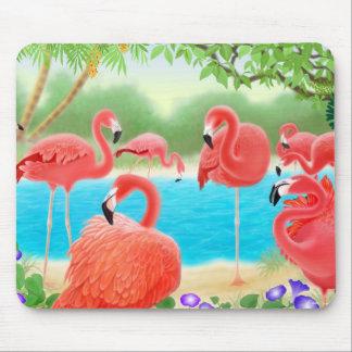 Caribbean Pink Flamingos Mousepad