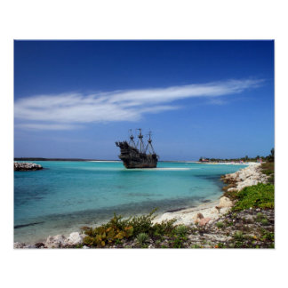 Caribbean Pirate Ship Poster