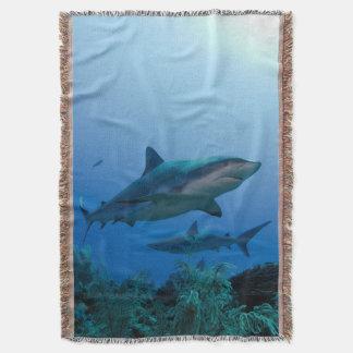 Caribbean Reef Shark Jardines de la Reina Throw Blanket