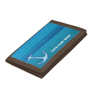 Caribbean Sea Anchor Tri-fold Wallets
