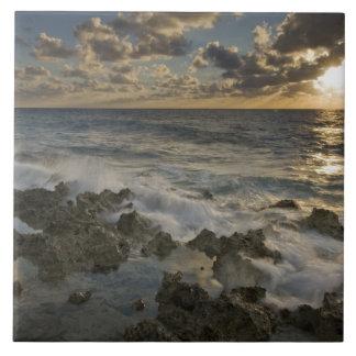 Caribbean Sea, Cayman Islands.  Crashing waves 2 Large Square Tile