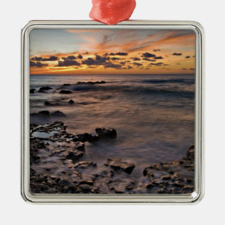 Caribbean Sea, Cayman Islands. Crashing waves 2 Silver-Colored Square Decoration
