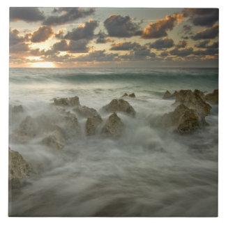 Caribbean Sea, Cayman Islands.  Crashing waves 3 Large Square Tile
