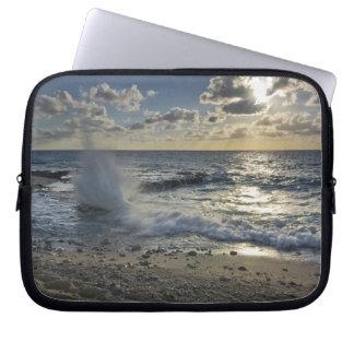 Caribbean Sea, Cayman Islands.  Crashing waves Laptop Sleeve