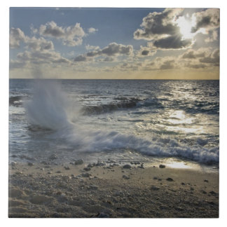 Caribbean Sea, Cayman Islands.  Crashing waves Large Square Tile