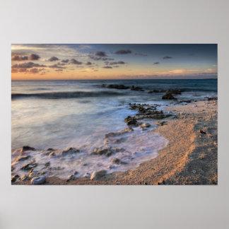 Caribbean Sea, Cayman Islands. Crashing waves Poster