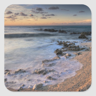 Caribbean Sea, Cayman Islands. Crashing waves Square Sticker