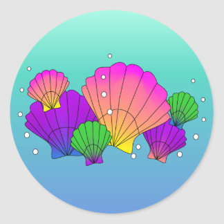 Caribbean Sea Shells and Bubbles Classic Round Sticker