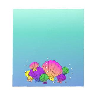 Caribbean Sea Shells with Bubbles Notepad
