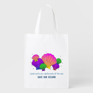 Caribbean Sea Shells with Bubbles, Save our Oceans Reusable Grocery Bag