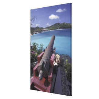 CARIBBEAN, St. Barts, Connon aiming into Bay of Canvas Print