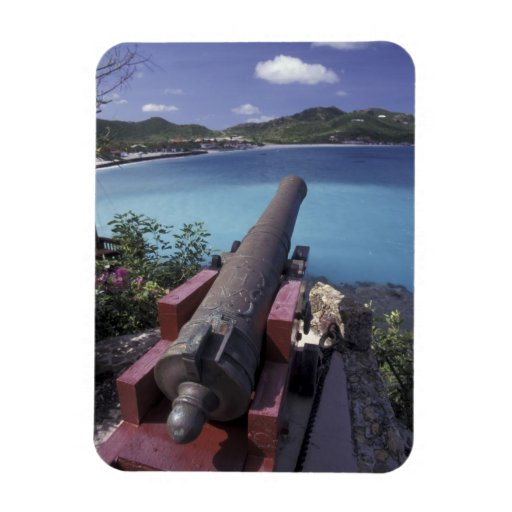 CARIBBEAN, St. Barts, Connon aiming into Bay of Vinyl Magnet