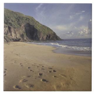 Caribbean, St. Kitts. Footprints on Atlantic Large Square Tile