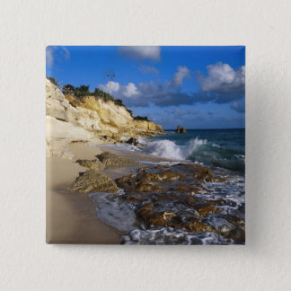 Caribbean, St. Martin, Cliffs at Cupecoy beach 15 Cm Square Badge