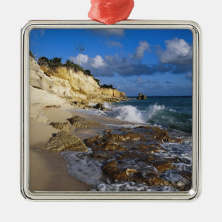 Caribbean, St. Martin, Cliffs at Cupecoy beach Silver-Colored Square Decoration