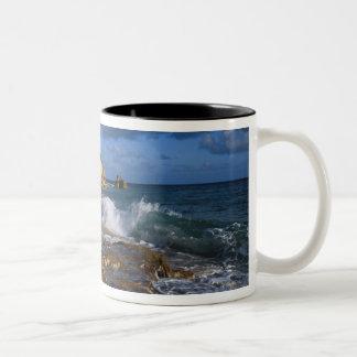Caribbean, St. Martin, Cliffs at Cupecoy beach Two-Tone Coffee Mug