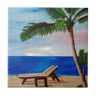 Caribbean Strand with Beach Chairs Tiles