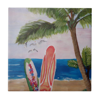 Caribbean Strand with Surf Boards Small Square Tile