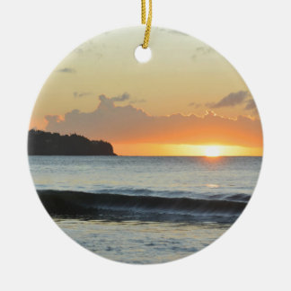 Caribbean sunset christmas ornament