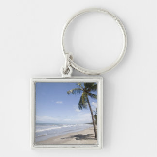Caribbean - Trinidad - Manzanilla Beach on 2 Silver-Colored Square Key Ring