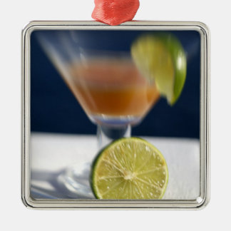 Caribbean, Virgin Islands. Tropical rum punch, Silver-Colored Square Decoration
