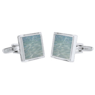 Caribbean Water Abstract Blue Nature Silver Finish Cufflinks