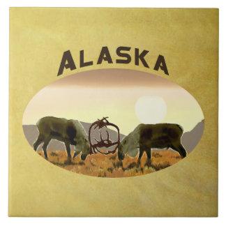 Caribou Duel - Alaska Large Square Tile