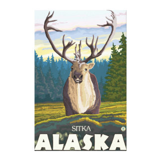 Caribou in the Wild - Sitka, Alaska Canvas Print